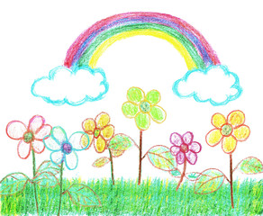 Child-like crayon drawing of a garden full of flowers with rainbow overhead