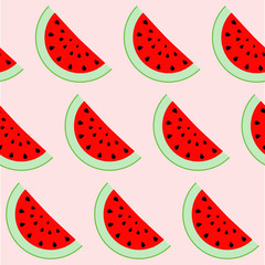 Colorful seamless pattern of watermelon slices. Vector illustration of summer sliced melon fruits. Eco food illustration.