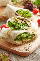 wrap with chicken and lettuce