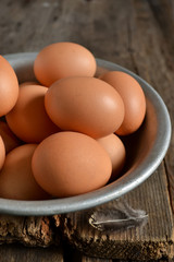Fresh raw group of eggs