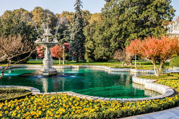 Autumn park in Istanbul. Fountain in Istanbul Park.