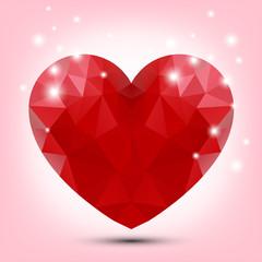 Valentine polygonal red heart