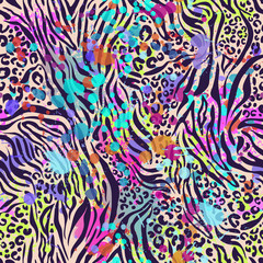 animal mix splatter ~ seamless background