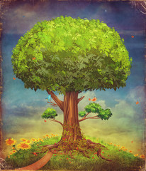 illustration of a big tree . Summer background