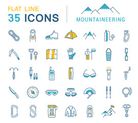 Set Vector Flat Line Icons Mountaineering