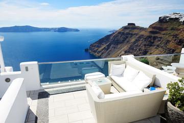 The sea view terrace, Santorini island, Greece