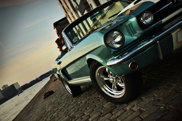 Shelby Replica of the Mustang 350 in the setting sun
