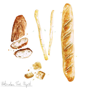 Watercolor Food Clipart - Baking. Isolated