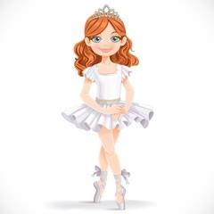 Cute little brunette ballerina girl in white tutut and tiara iso