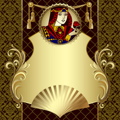 Vintage gold design template with playing cards character