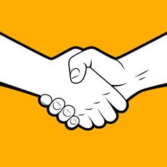 Handshake white silhouette with black contour on orange backgrou