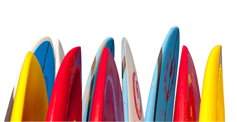Stack of surfboards isolated