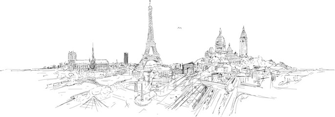 Fototapeta PARIS city panoramic sketch