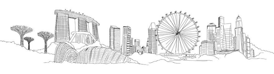 SINGAPORE panoramic sketch