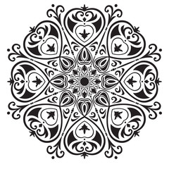Black and white circular pattern with hearts