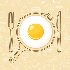Fried egg and hand drawn pan, fork and knife on seamless background with outline food icons. Vector design for breakfast menu, cafe, restaurant.  Logo design template. Food background.