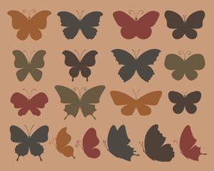 Set of butterflies for design.