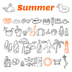 Hand drawn summer collection. Beach theme doodle set. Travel col