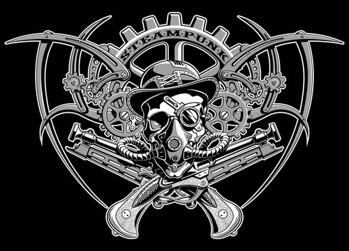 skull steampunk gears in a hat with glasses vector illustration