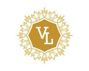 VL initial royal letter logo