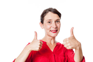 satisfaction concept - cheerful 30s woman with two thumbs up approving, congratulating for success, white background studio