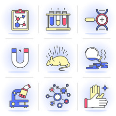 Set of vector icons into flat style. Scientific approach, animal studies, a failed experiment. Isolated Objects in a Modern Style for Your Design.
