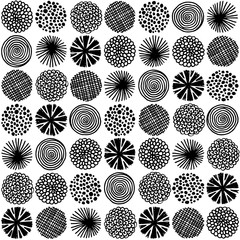 Abstract seamless pattern with hand drawn doodle circles