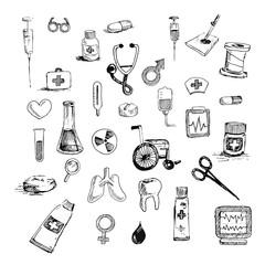 Medicine icons vector doodle seamless background design
