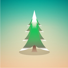 vector flat style colored illustration pine tree