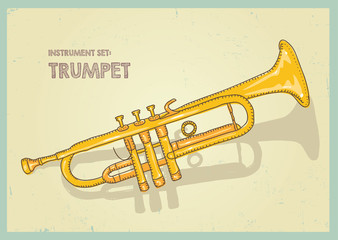 vector hand drawing colored trumpet.illustration