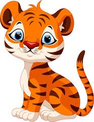 Cute baby tiger cartoon sitting