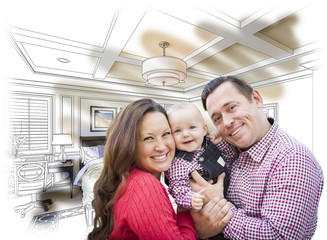 Young Family With Baby Over Bedroom Drawing and Photo