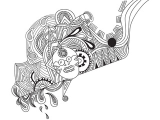 hand drawn abstract line art