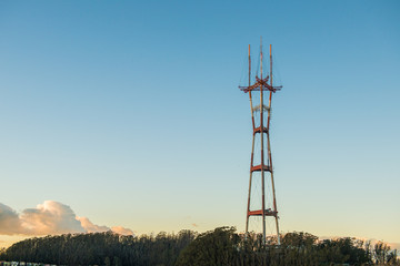 Famous landmark of San Francisco, Twin Peaks, Sutro TV and radio tower