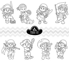 Vector colorless set of characters pirates