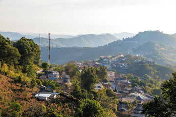 Village urbanization in the mountain and forest, Doi Mae Salong,