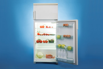 Open Refrigerator Full Of Healthy Food