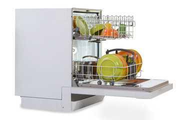 Dishwasher Against White Background