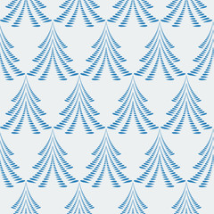 Seamless Christmas pattern. Firs, trees on light blue background. Twist stylized ornament of laurel leaves. Winter, New Year, nature texture. Vector