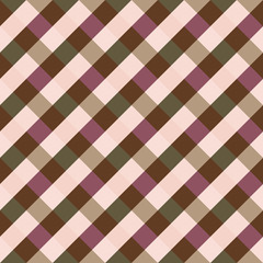 Seamless geometric checked pattern. Diagonal square, braiding, woven line background. Patchwork, rhombus, staggered texture. Pastel, brown, green, gray, rose, cold, winter colored. Vector