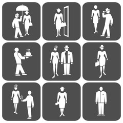 People icon set.  Standing woman, man, waiter, boss. Office, business, welcome, greeting symbol. White sign on rectangular dark gray button. Vector