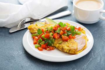 Omelet with ham and avocado