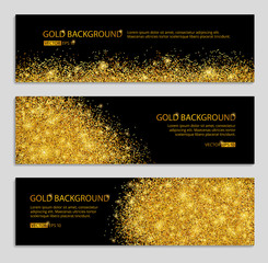 Gold banner with glitter black background