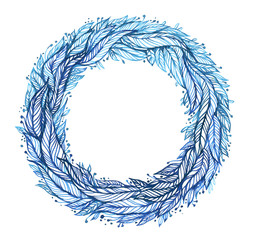 wreath of leaves, feathers, circular pattern, drawing blue ink