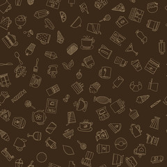Seamless pattern of hand-drawn coffee icons