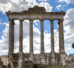 The ruins of the temple of Saturn in the Roman Forum in Rome, Italy.