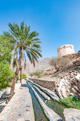 Falaj Al-Katmeen in Nizwa, Dakhiliya, Oman. Five Aflaj Irrigation Systems of Oman were added to the UNESCO list of World Heritage Sites in 2006.