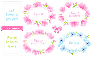 VECTOR eps 10. 4  Frames with Magnolia and blue Anemones.