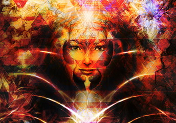 Beautiful Painting Goddess Woman with ornamental mandala and color abstract background  and desert crackle..