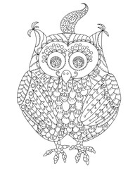 Vector doodle black and white owl isolated on white.